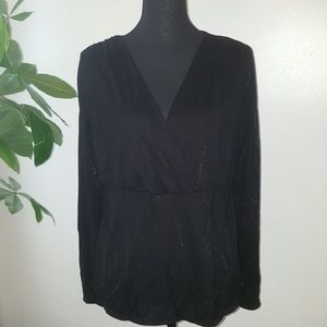 J.Jill faux wrap black blouse long sleeves